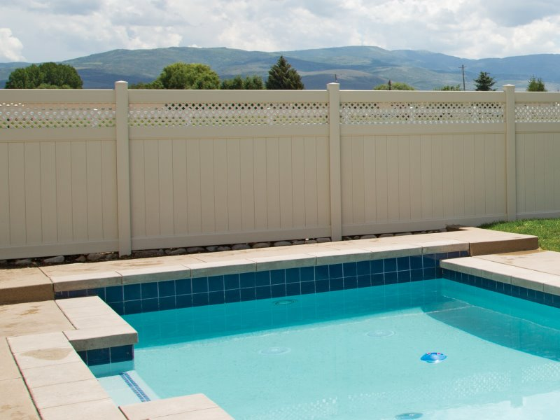 Popular Vinyl Pool Vinyl Fence Arrowwood Style Selected by our Massachusetts and New Hampshire Residents